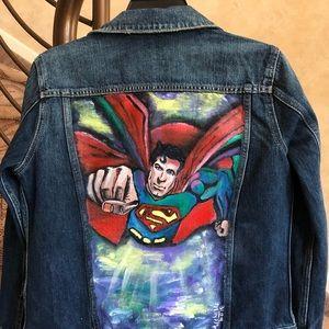 Unisex Superman Custom made Denim jacket ...Size S